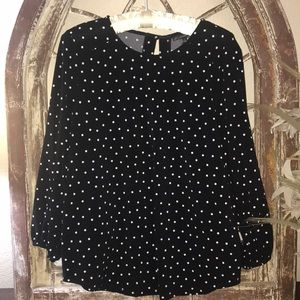 Adrianna Papell Blouse Black with white Polkadots